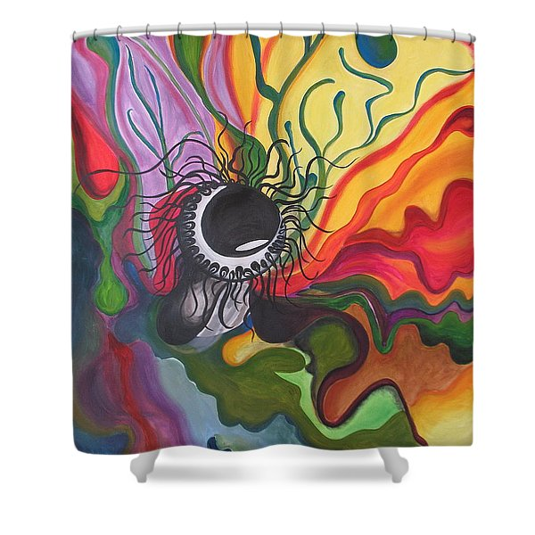 Abstract Underwater Anemone Shower Curtain