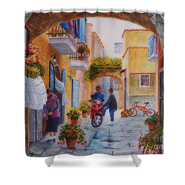 Shower Curtain featuring the painting Alley Chat by Karen Fleschler