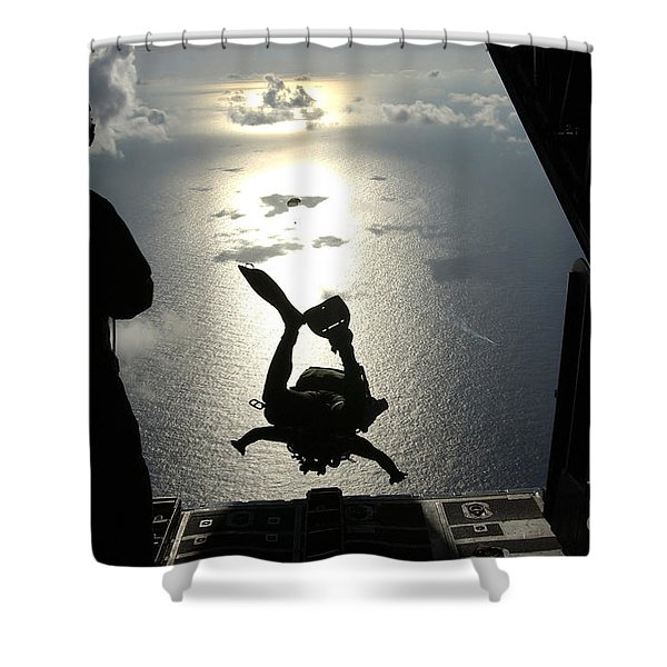 An Air Force Pararescueman Jumps Shower Curtain