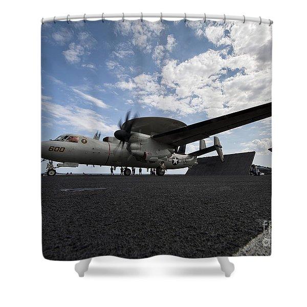 An E-2c Hawkeye Aircraft Prepares Shower Curtain