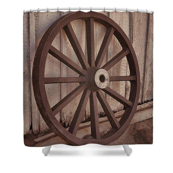 An Old Wagon Wheel Shower Curtain