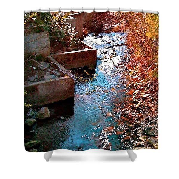 And A River Runs Through It - Red Hue Shower Curtain
