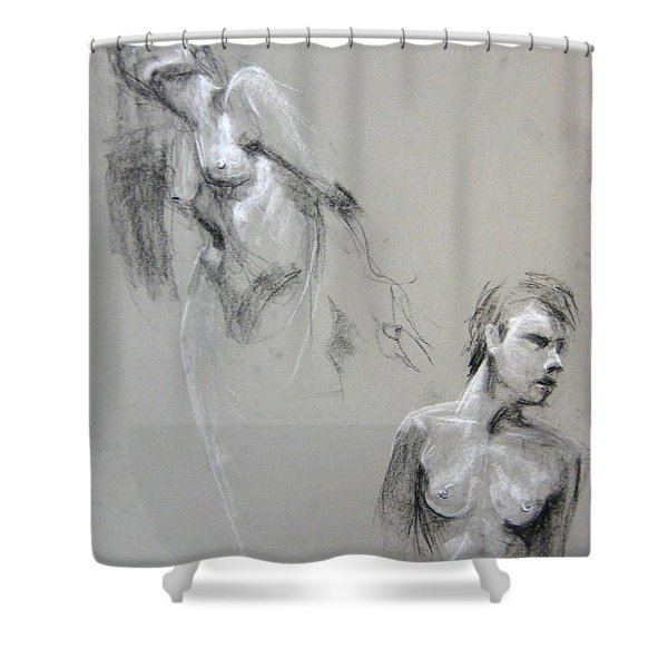 Shower Curtain featuring the drawing Andro Double by Gabrielle Wilson-Sealy