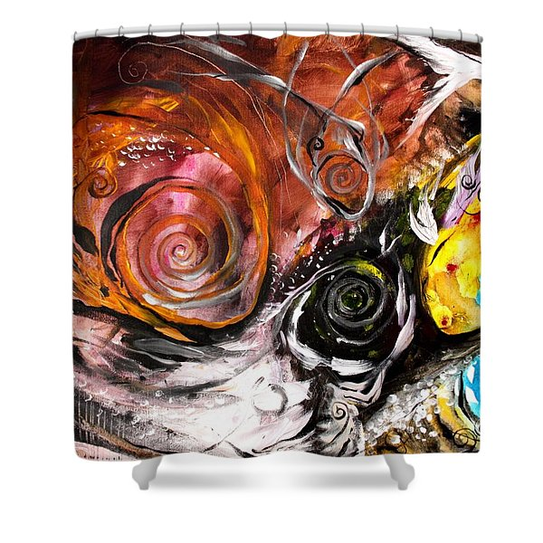 Anewed Antypityped Five Fish Shower Curtain