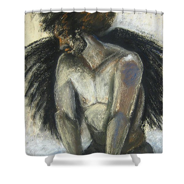 Shower Curtain featuring the drawing Angel by Gabrielle Wilson-Sealy