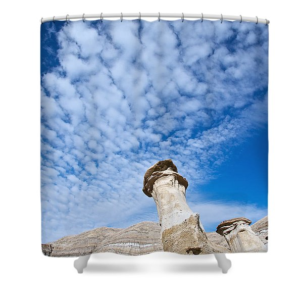 Angled Hoodoo And Clouds Shower Curtain