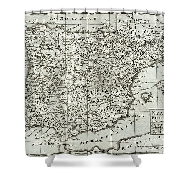 Antique Map Of Spain And Portugal Shower Curtain