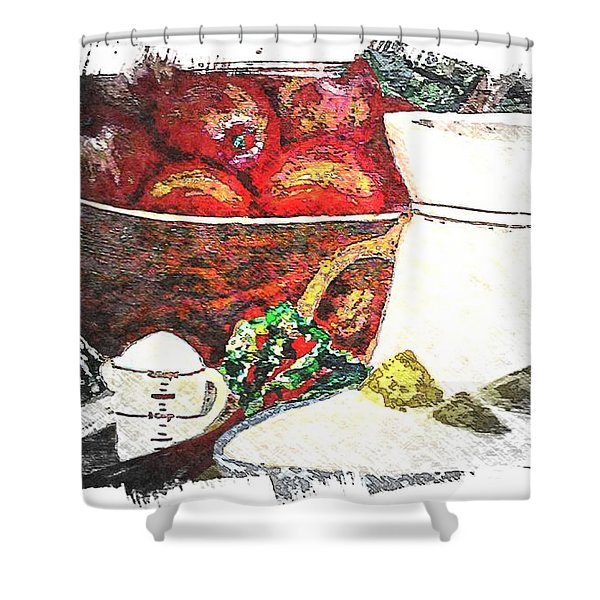 Apple And Rhubarb Pie Shower Curtain