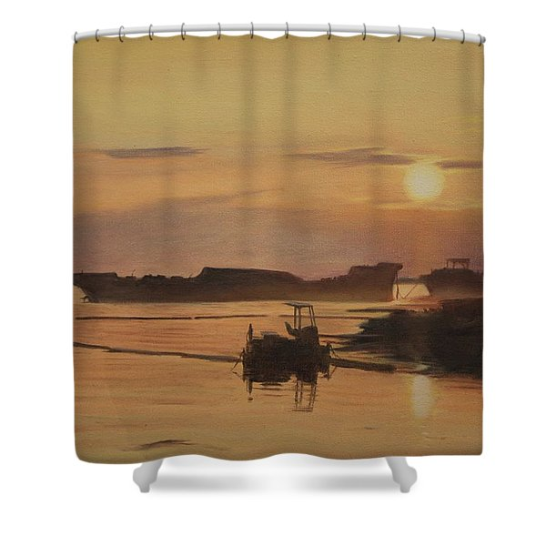 At The End Of It's Day Shower Curtain