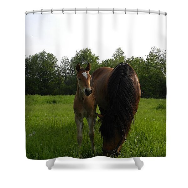 Babe With Mom Shower Curtain