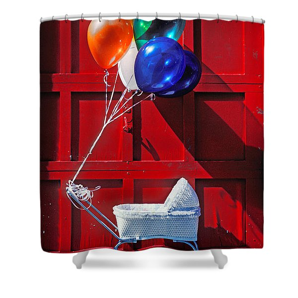 Baby Buggy With Balloons  Shower Curtain