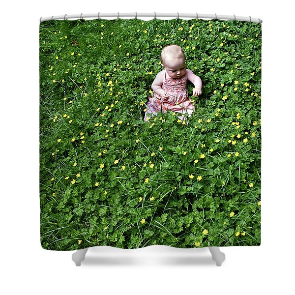 Shower Curtain featuring the photograph Baby In A Field Of Flowers by Lorraine Devon Wilke