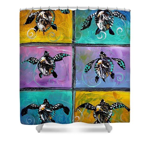 Baby Sea Turtles Six Shower Curtain