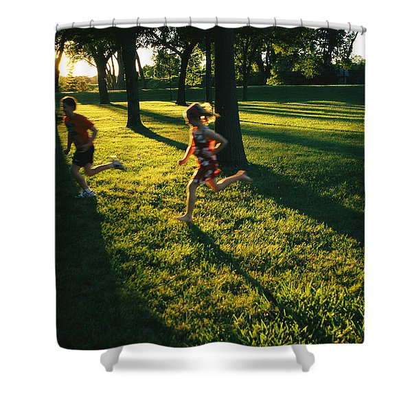Backlit View Of Children Running Shower Curtain