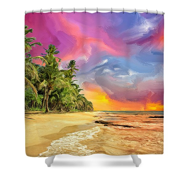 Bali Beach Sunset Shower Curtain