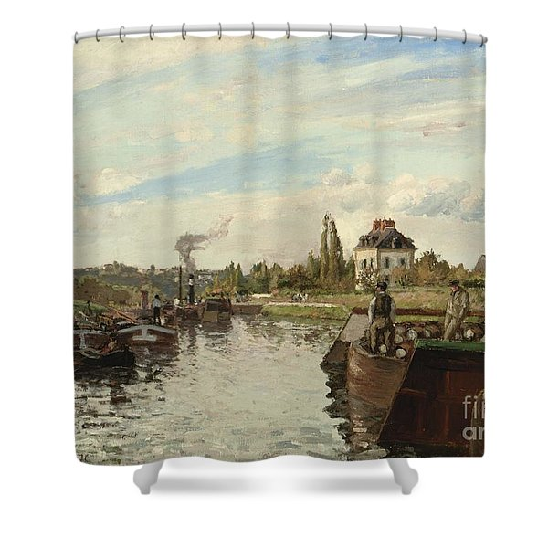 Barge On The Seine At Bougival Shower Curtain