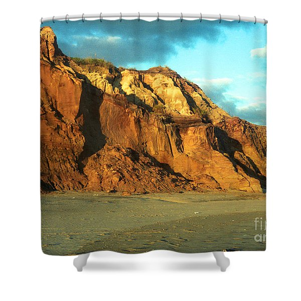 Beach Cliff At Sunset Shower Curtain