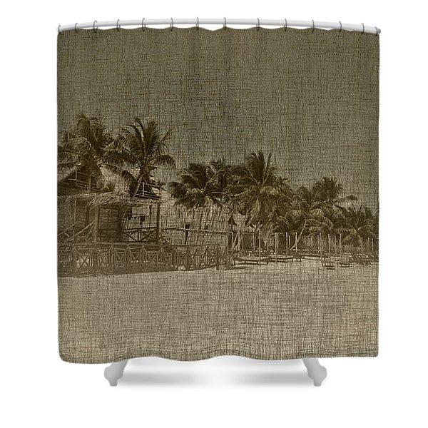 Beach Huts In A Tropical Paradise Shower Curtain