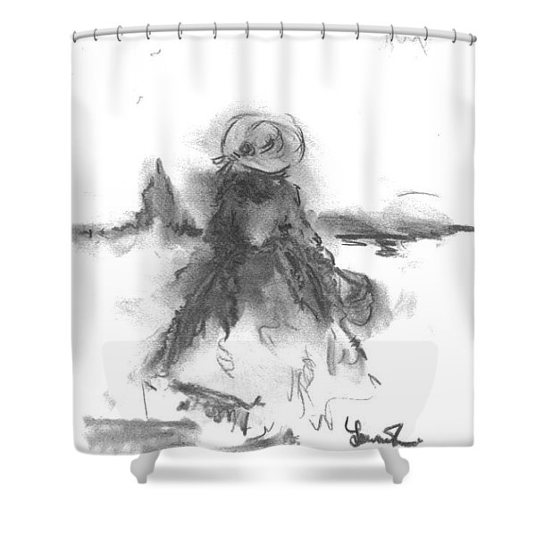Shower Curtain featuring the drawing Being Happy by Laurie Lundquist