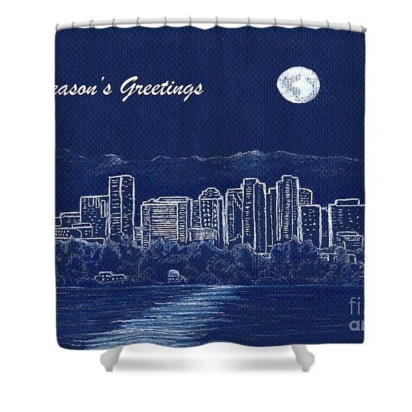 Bellevue Skyline Holiday Card Shower Curtain