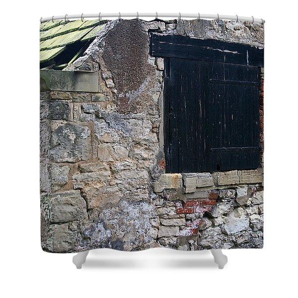 Black Boarded Window Shower Curtain