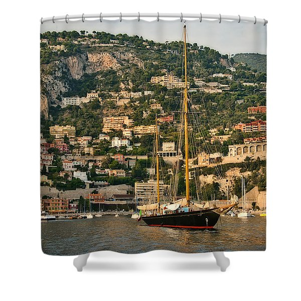 Black Sailboat Shower Curtain