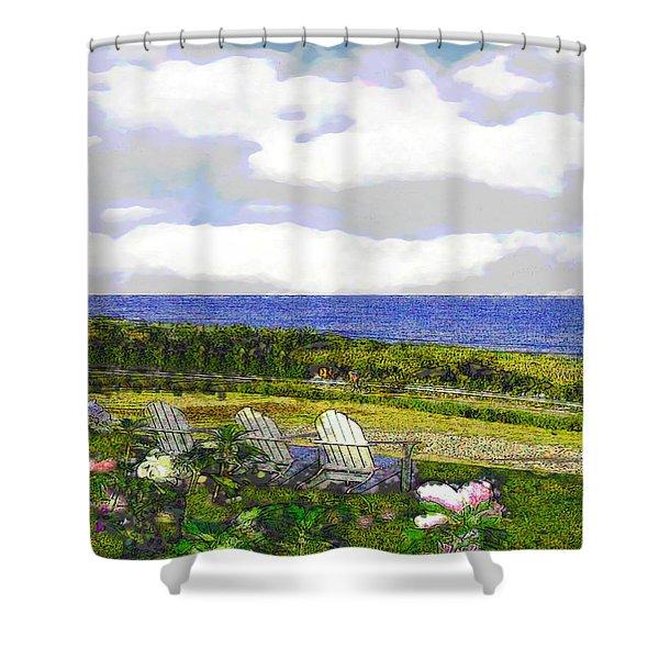 Block Island Sea Chairs Shower Curtain
