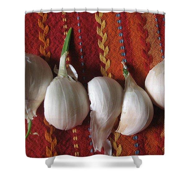Blooming Garlic Bulbs Shower Curtain