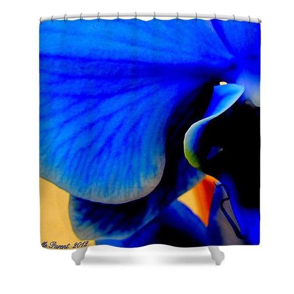 Blue Diamonds Orchids Shower Curtain