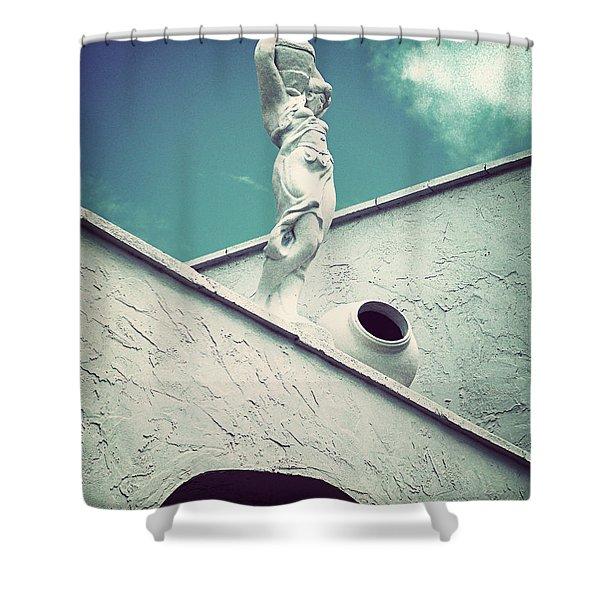 Blue Goddess II-vintage Shower Curtain