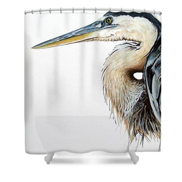 Blue Heron Study Shower Curtain