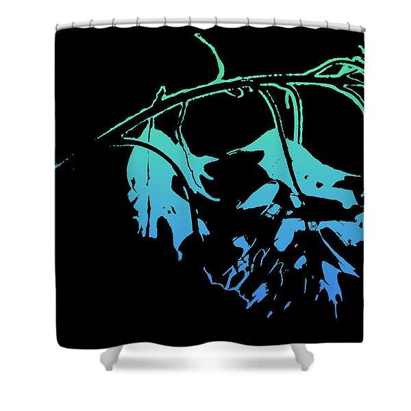Blue On Black Shower Curtain