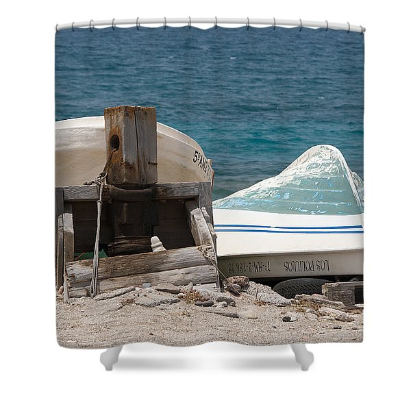 Blue Skiffs Spain Shower Curtain