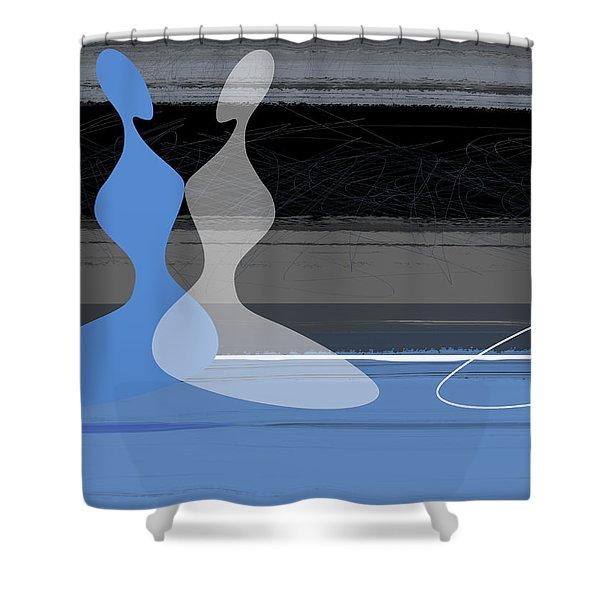 Blue Women Shower Curtain