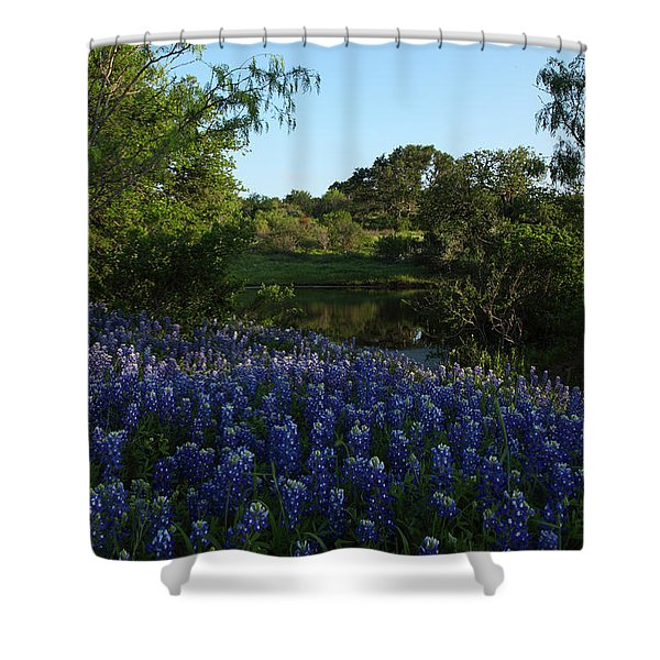 Bluebonnets At The Pond Shower Curtain