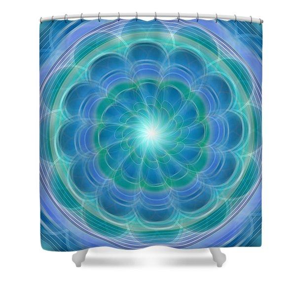 Bluefloraspin Shower Curtain