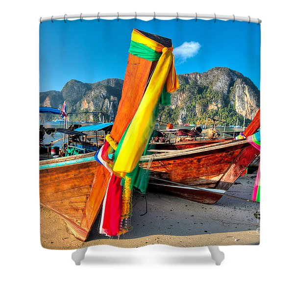Boats At Phi Phi Island Shower Curtain