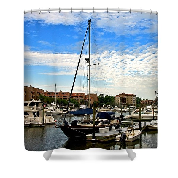 Boats In The Harbor Shower Curtain