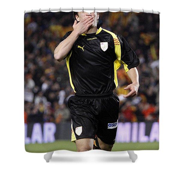 Bojan Krkic Celebrating A Goal 2 Shower Curtain