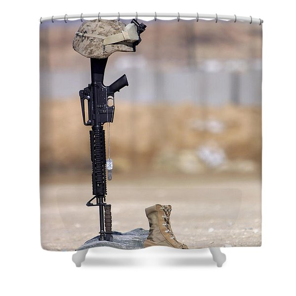 Boots, Rifle, Dog Tags, And Protective Shower Curtain