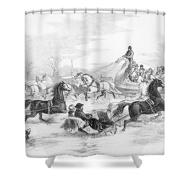 Boston: Sleighing, 1856 Shower Curtain