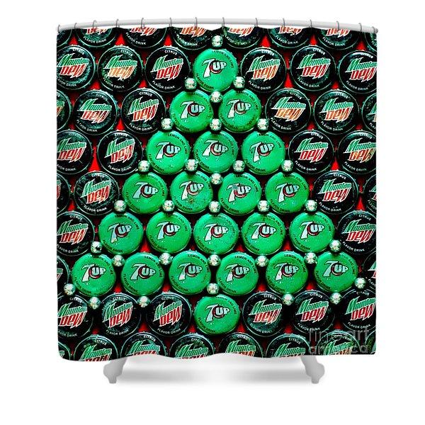 Bottle Caps Christmas Tree Shower Curtain