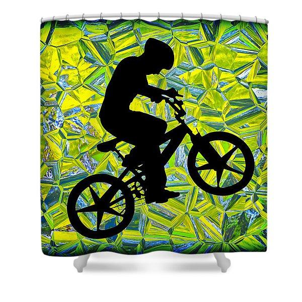 Boy On A Bike Silhouette Shower Curtain