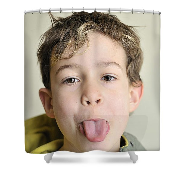Boy Pokes His Tongue Out Shower Curtain