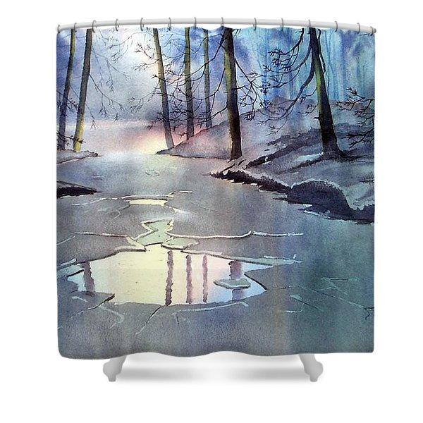 Breaking Ice Shower Curtain