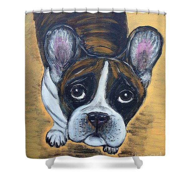 Brindle Frenchie Shower Curtain