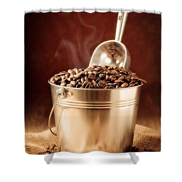 Bucket Of Coffee Beans Shower Curtain