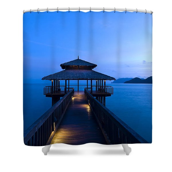 Building At The End Of A Jetty During Twilight Shower Curtain