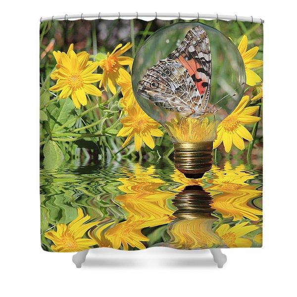 Butterfly In A Bulb II - Landscape Shower Curtain