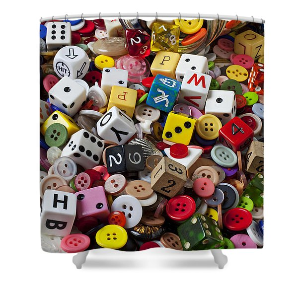 Buttons And Dice Shower Curtain